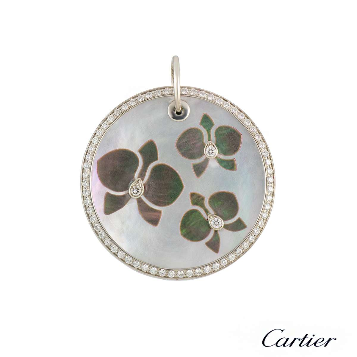 Cartier Caresse D'Orchidees Diamond & Mother of Pearl Pendant